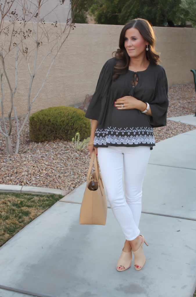 Grey Embroidered Peasant Blouse, White Cropped Skinny Jeans, Tan Mules, Tan Tote, Tolani, J Brand, Ann Taylor, J.Crew 5