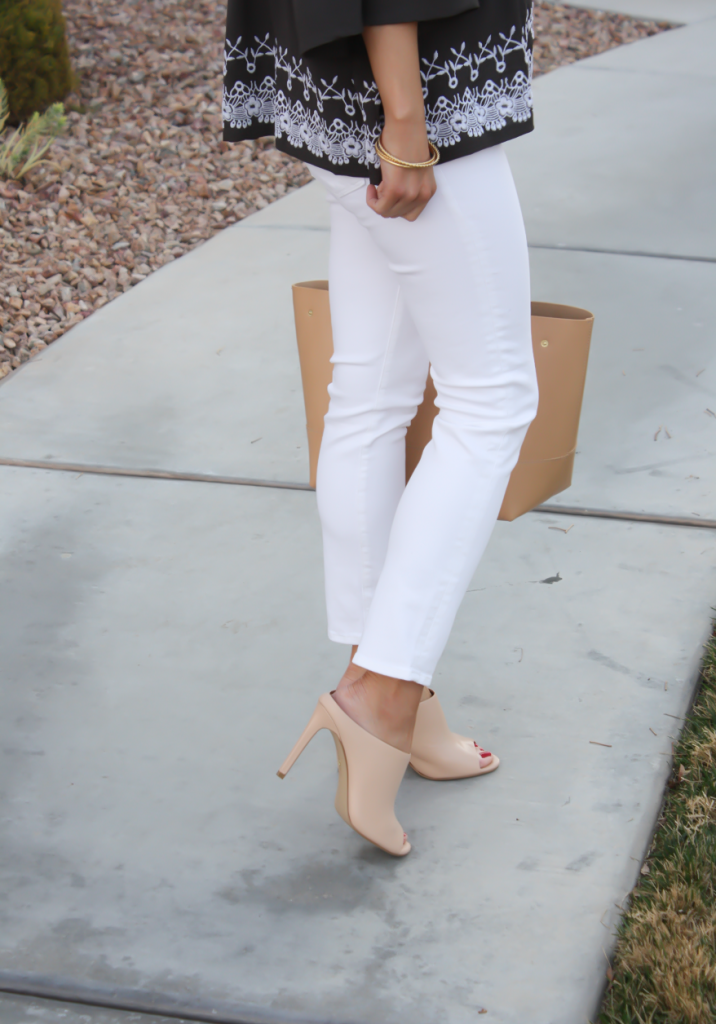 Grey Embroidered Peasant Blouse, White Cropped Skinny Jeans, Tan Mules, Tan Tote, Tolani, J Brand, Ann Taylor, J.Crew 6