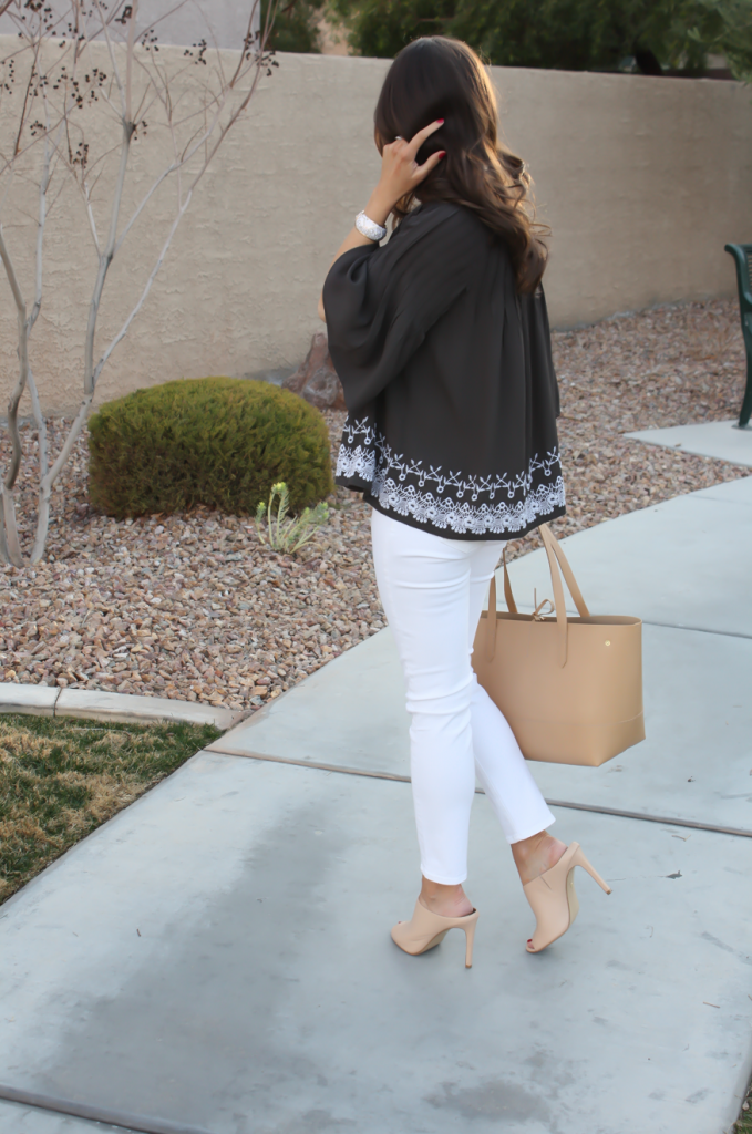 Grey Embroidered Peasant Blouse, White Cropped Skinny Jeans, Tan Mules, Tan Tote, Tolani, J Brand, Ann Taylor, J.Crew 9