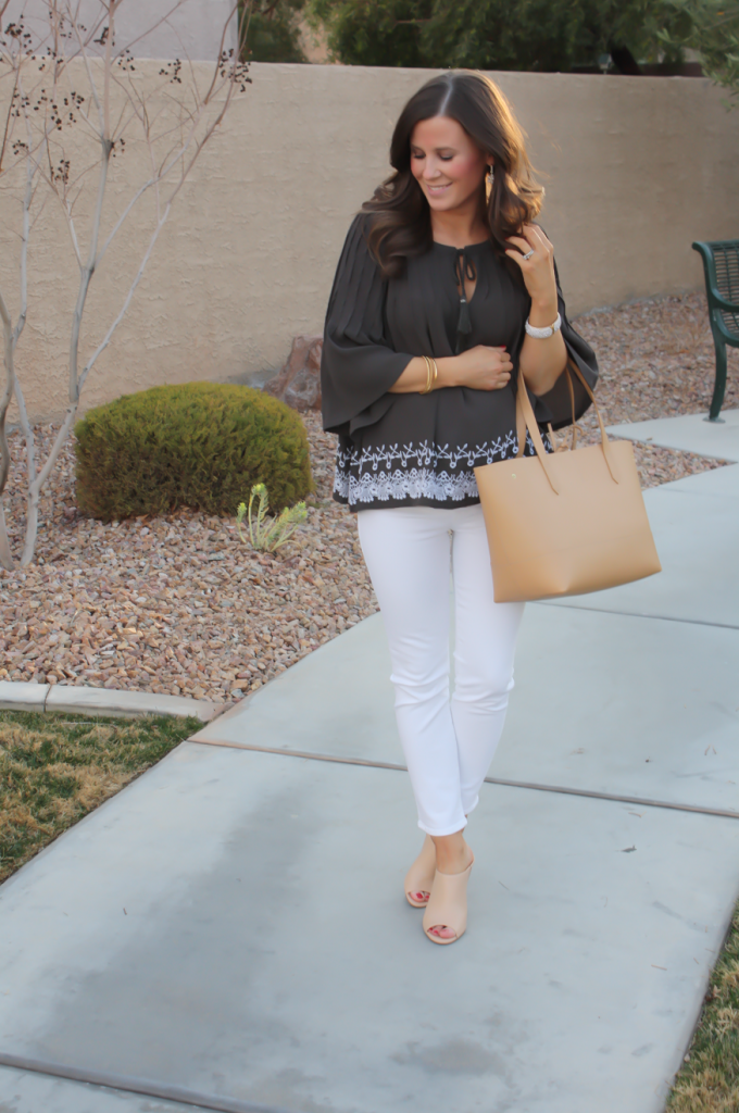 Grey Embroidered Peasant Blouse, White Cropped Skinny Jeans, Tan Mules, Tan Tote, Tolani, J Brand, Ann Taylor, J.Crew