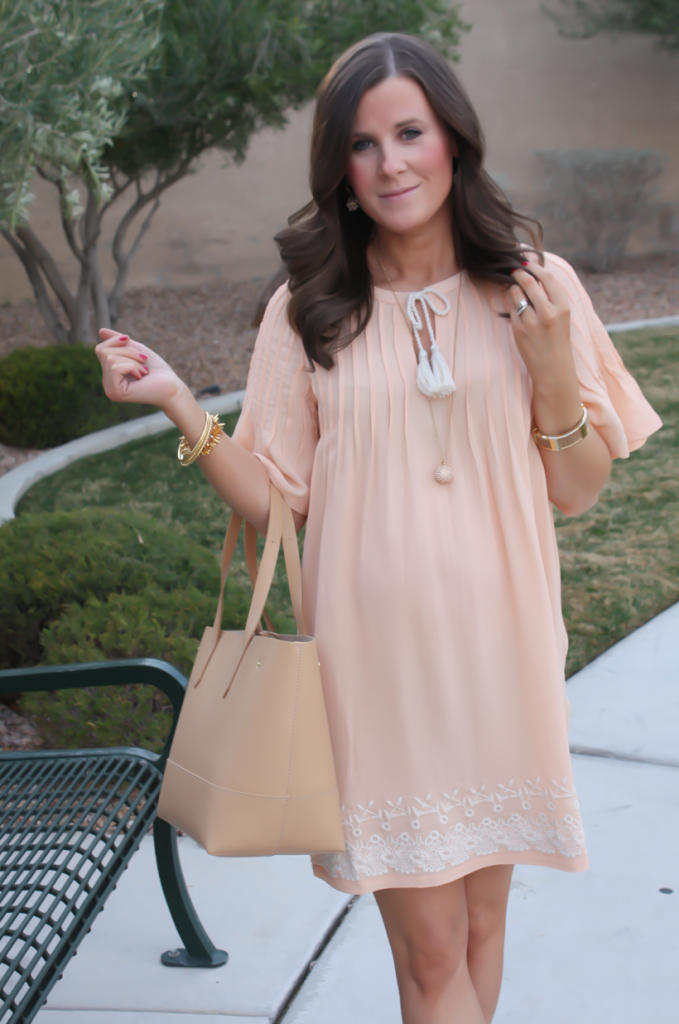Peach Embroidered Dress, Beige Wedge Sandals, Tan Leather Tote, Gold Jewelry, Tularosa, See By Chloe, J.Crew 18