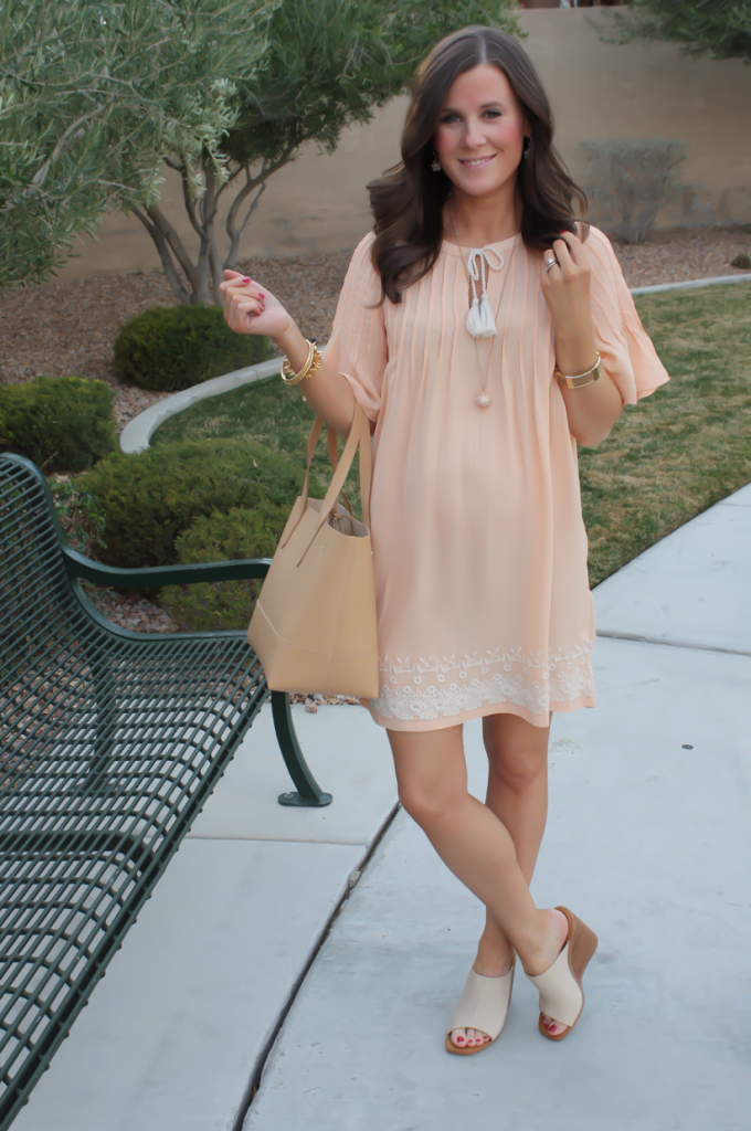 Peach Embroidered Dress, Beige Wedge Sandals, Tan Leather Tote, Gold Jewelry, Tularosa, See By Chloe, J.Crew 19