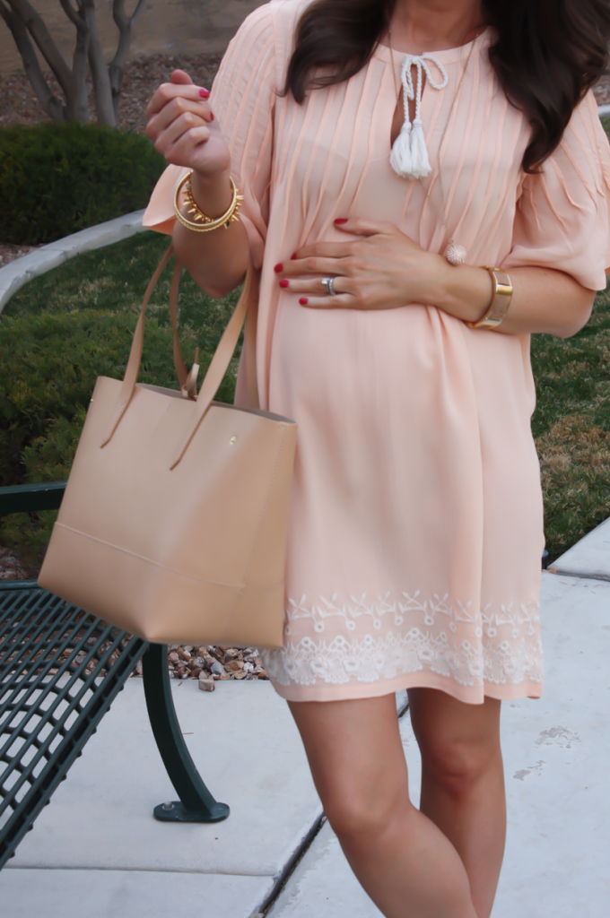 Peach Embroidered Dress, Beige Wedge Sandals, Tan Leather Tote, Gold Jewelry, Tularosa, See By Chloe, J.Crew 22