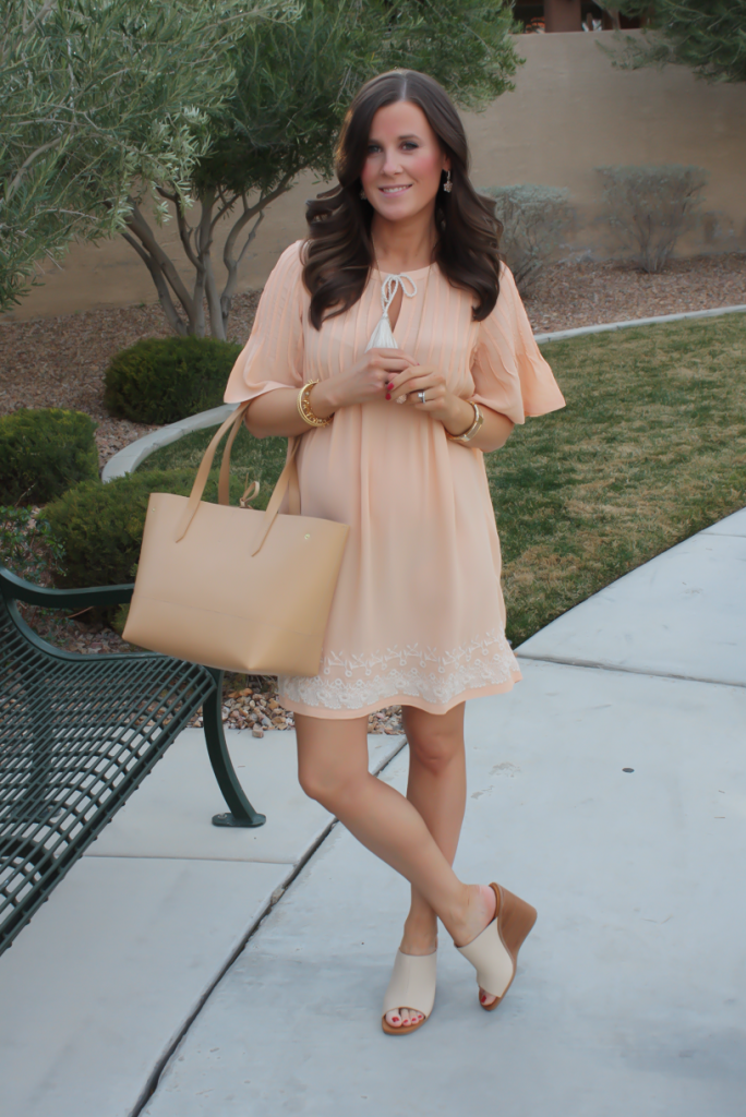 Peach Embroidered Dress, Beige Wedge Sandals, Tan Leather Tote, Gold Jewelry, Tularosa, See By Chloe, J.Crew 23