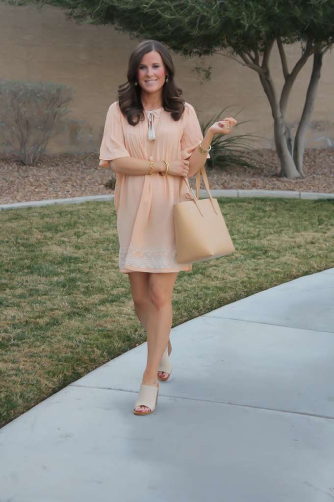 Peach Embroidered Dress, Beige Wedge Sandals, Tan Leather Tote, Gold Jewelry, Tularosa, See By Chloe, J.Crew 25
