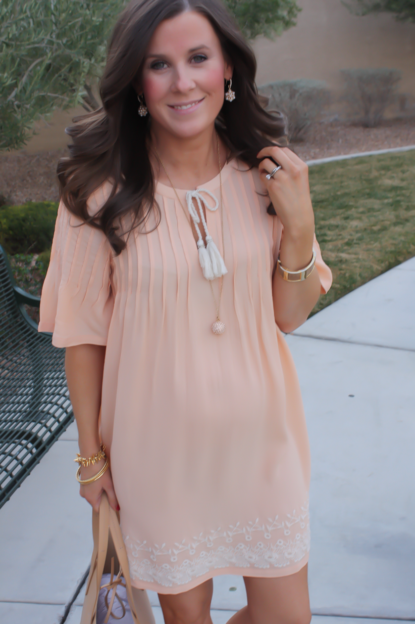 Embroidered Peach Dress Feeling Floral