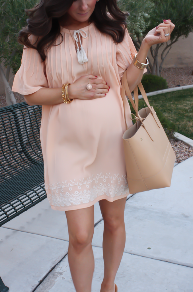 Peach Embroidered Dress, Beige Wedge Sandals, Tan Leather Tote, Gold Jewelry, Tularosa, See By Chloe, J.Crew 33