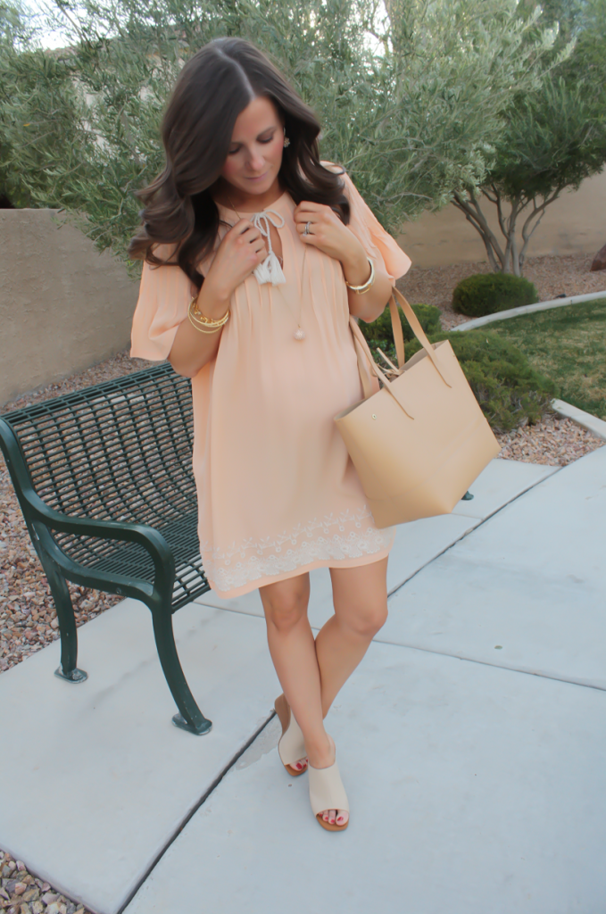 Peach Embroidered Dress, Beige Wedge Sandals, Tan Leather Tote, Gold Jewelry, Tularosa, See By Chloe, J.Crew 36