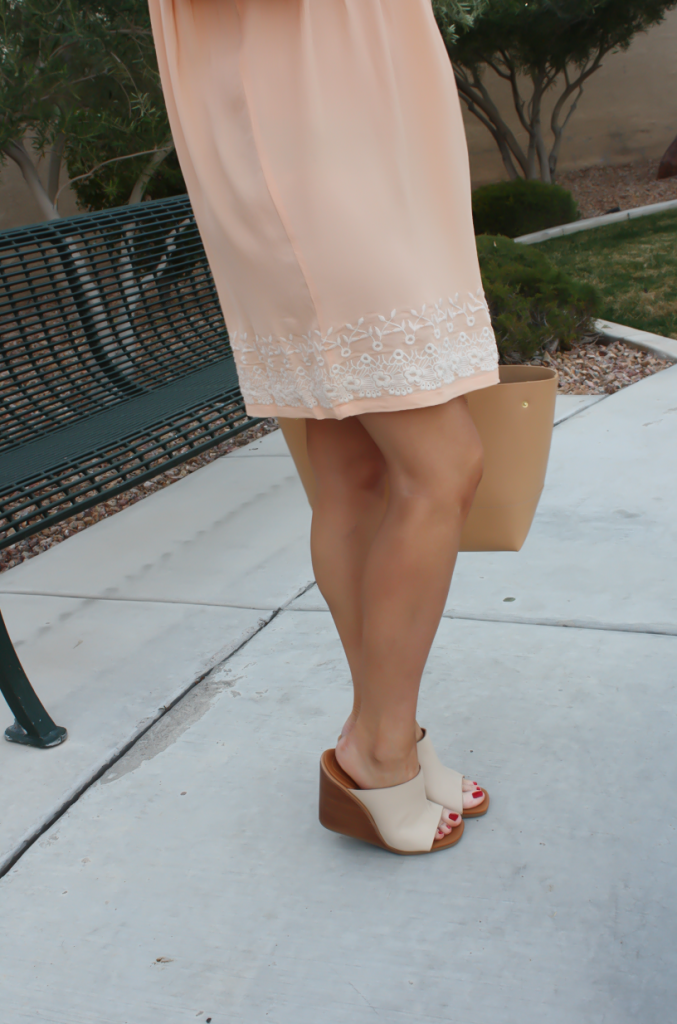 Peach Embroidered Dress, Beige Wedge Sandals, Tan Leather Tote, Gold Jewelry, Tularosa, See By Chloe, J.Crew 37