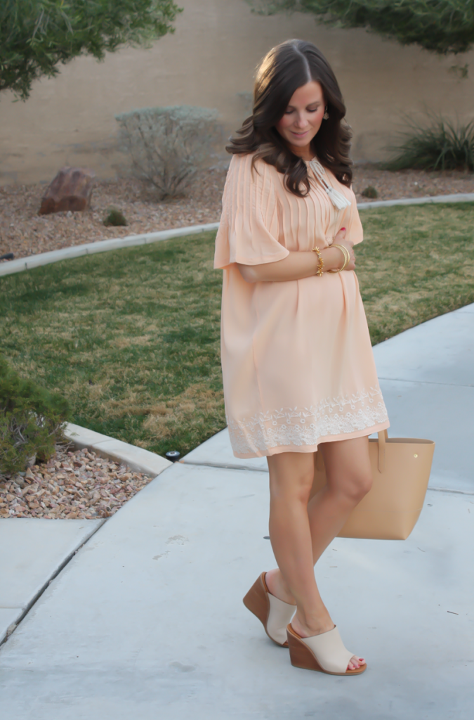 Peach Embroidered Dress, Beige Wedge Sandals, Tan Leather Tote, Gold Jewelry, Tularosa, See By Chloe, J.Crew 5