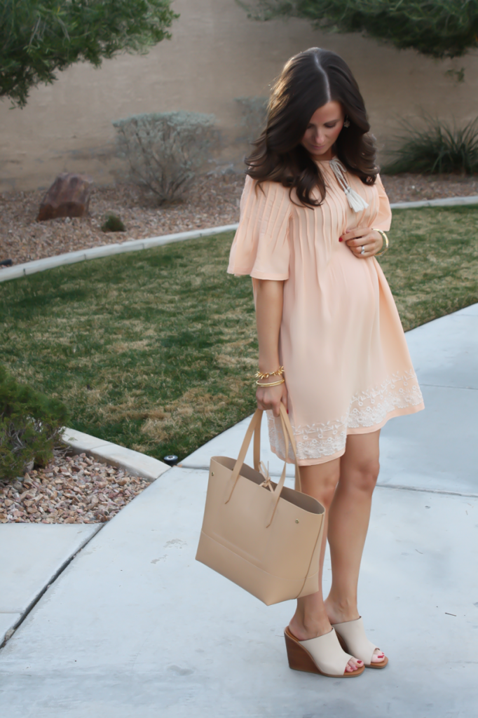Peach Embroidered Dress, Beige Wedge Sandals, Tan Leather Tote, Gold Jewelry, Tularosa, See By Chloe, J.Crew 7