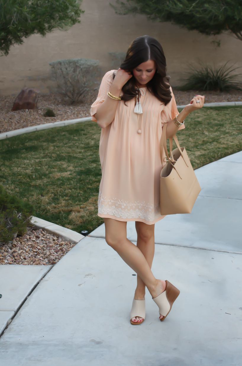 Embroidered Peach Dress + Feeling Floral