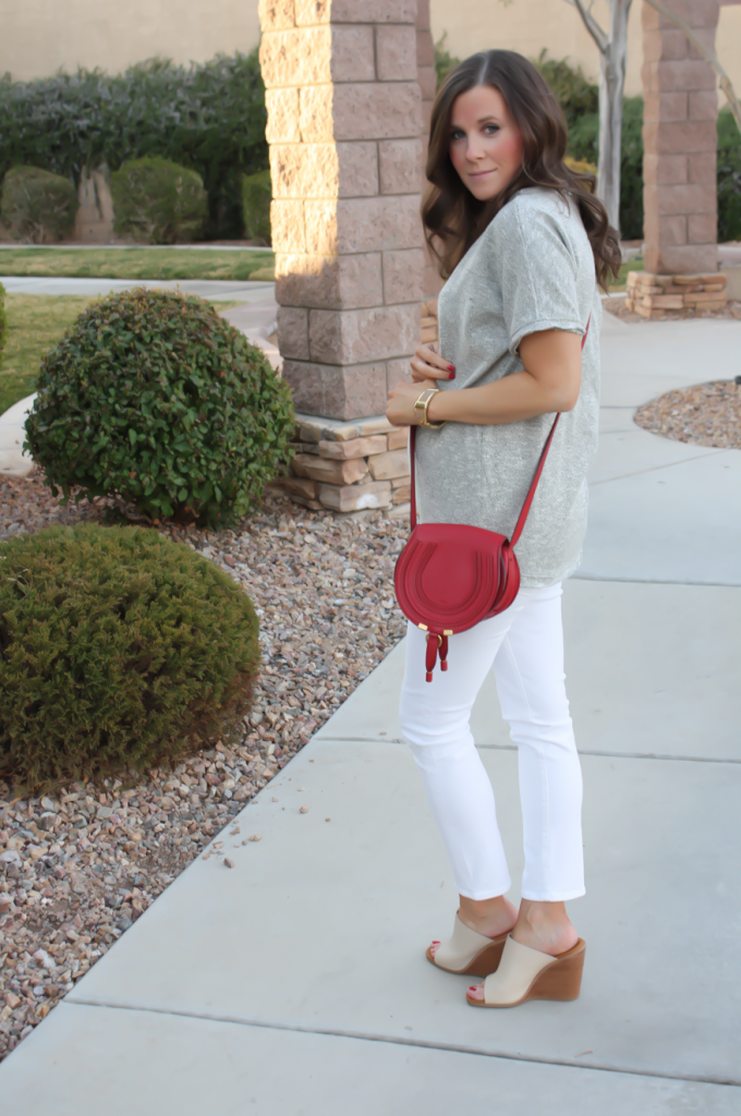 Toggery Grey Sweater Jersey Tee, White Cropped Skinny Jeans, Tan Wedge Mules, Red Crossbody, Toggery Brand, J Brand, See By Chloe, Chloe, Marcie Small Crossbody 10