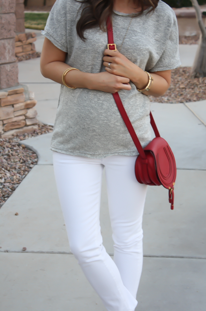 Toggery Grey Sweater Jersey Tee, White Cropped Skinny Jeans, Tan Wedge Mules, Red Crossbody, Toggery Brand, J Brand, See By Chloe, Chloe, Marcie Small Crossbody 11