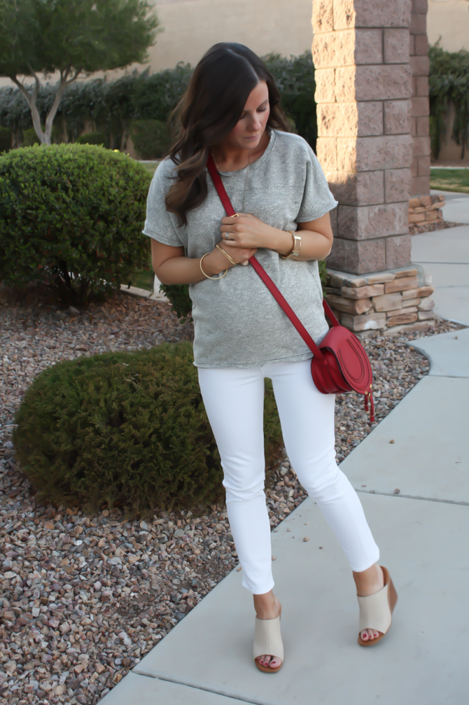 Toggery Grey Sweater Jersey Tee, White Cropped Skinny Jeans, Tan Wedge Mules, Red Crossbody, Toggery Brand, J Brand, See By Chloe, Chloe, Marcie Small Crossbody 14