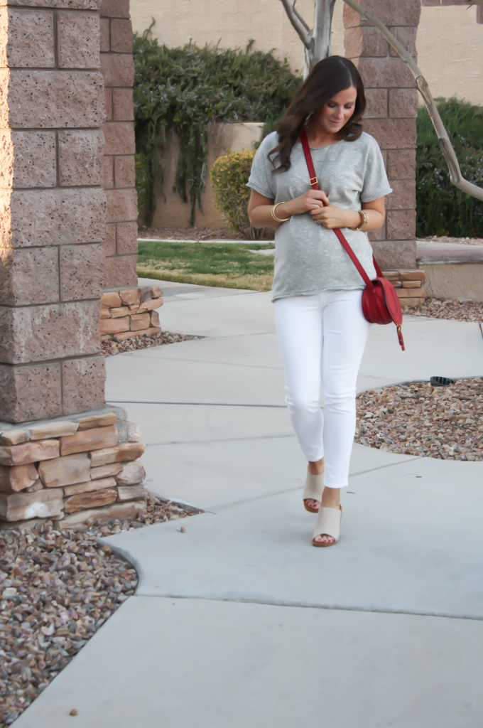 Toggery Grey Sweater Jersey Tee, White Cropped Skinny Jeans, Tan Wedge Mules, Red Crossbody, Toggery Brand, J Brand, See By Chloe, Chloe, Marcie Small Crossbody 15