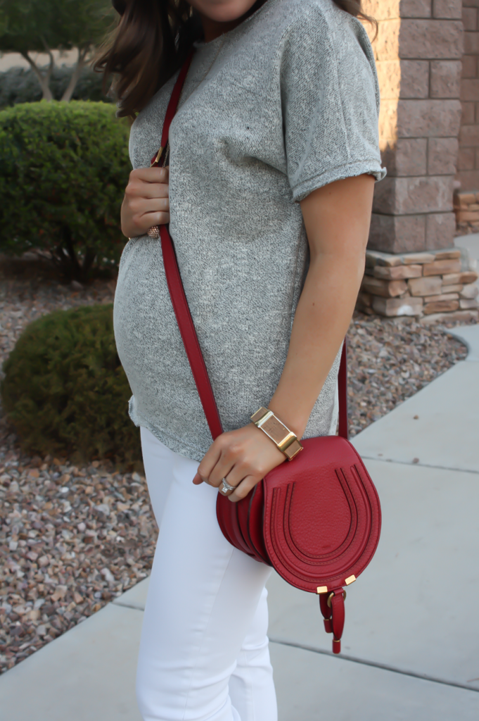 Toggery Grey Sweater Jersey Tee, White Cropped Skinny Jeans, Tan Wedge Mules, Red Crossbody, Toggery Brand, J Brand, See By Chloe, Chloe, Marcie Small Crossbody 17