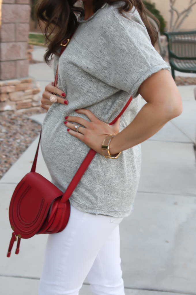 Toggery Grey Sweater Jersey Tee, White Cropped Skinny Jeans, Tan Wedge Mules, Red Crossbody, Toggery Brand, J Brand, See By Chloe, Chloe, Marcie Small Crossbody 20