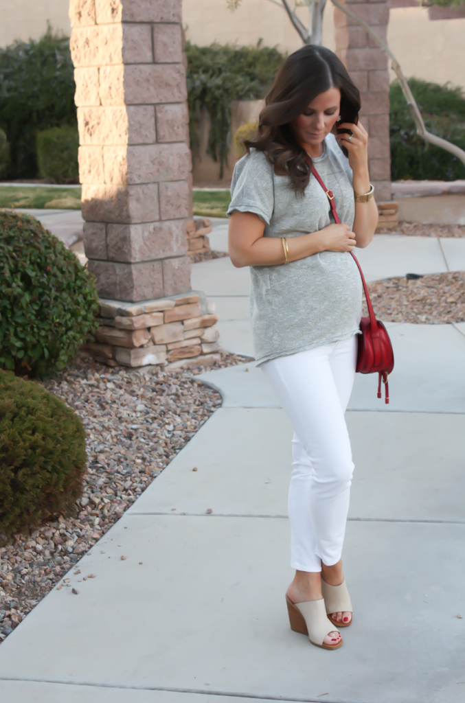 Toggery Grey Sweater Jersey Tee, White Cropped Skinny Jeans, Tan Wedge Mules, Red Crossbody, Toggery Brand, J Brand, See By Chloe, Chloe, Marcie Small Crossbody 3