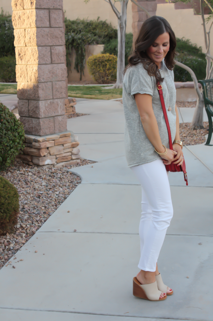 Toggery Grey Sweater Jersey Tee, White Cropped Skinny Jeans, Tan Wedge Mules, Red Crossbody, Toggery Brand, J Brand, See By Chloe, Chloe, Marcie Small Crossbody 4