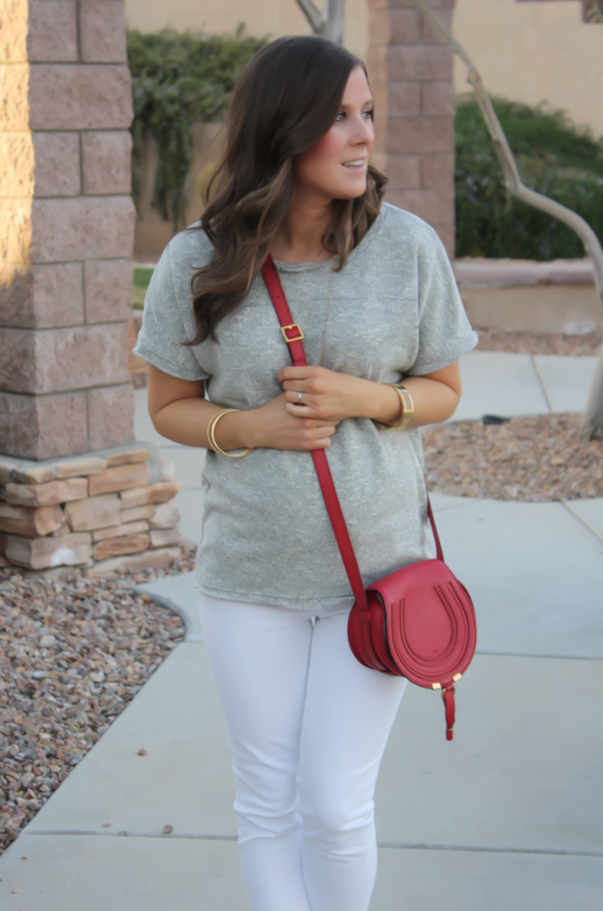 Toggery Grey Sweater Jersey Tee, White Cropped Skinny Jeans, Tan Wedge Mules, Red Crossbody, Toggery Brand, J Brand, See By Chloe, Chloe, Marcie Small Crossbody 8