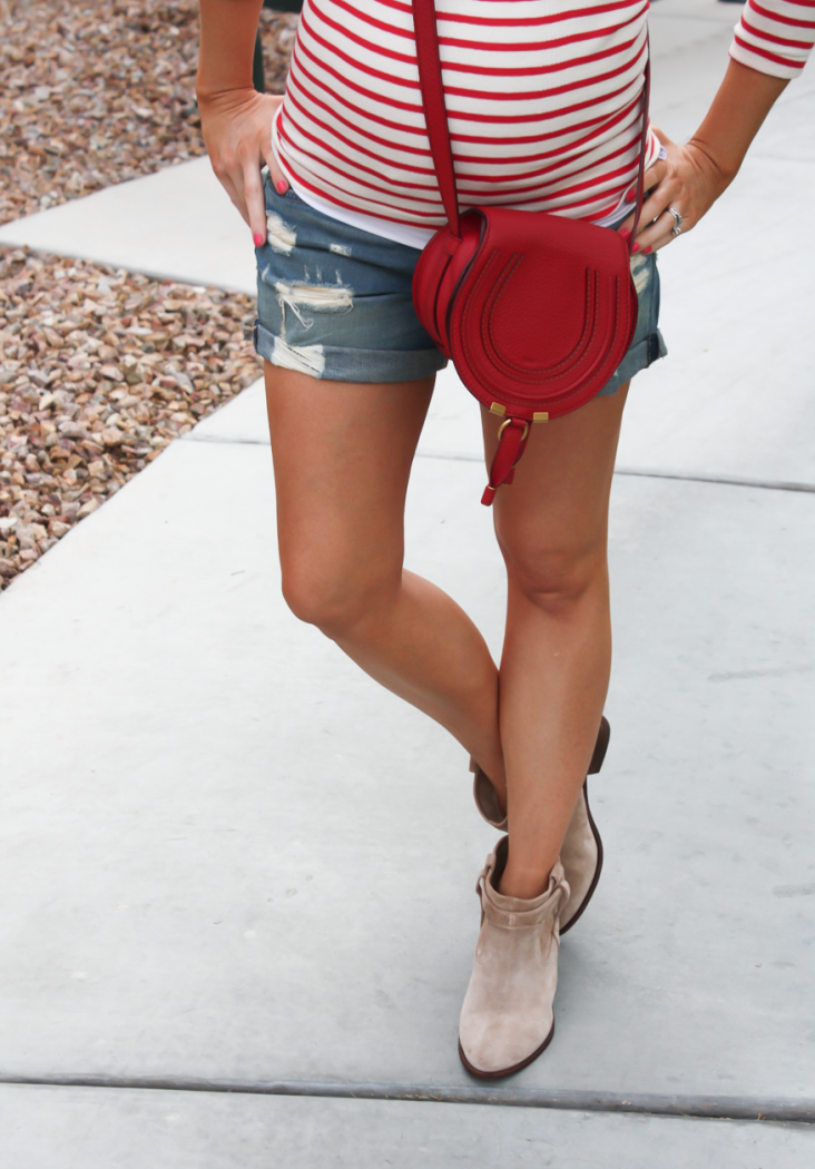 Distressed Denim Shorts, Toggery Brand Striped Boatneck Tee, Suede Ankle Booties, Red Crossbody, Rag and Bone, Joie, Chloe 12