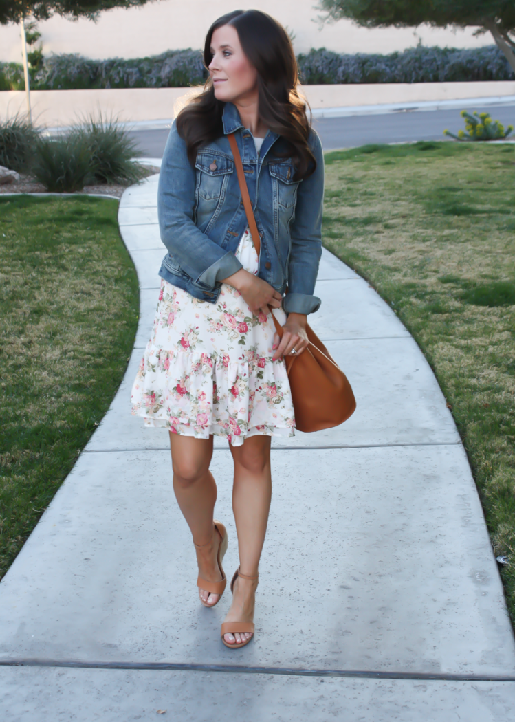 White floral dress brown wedges