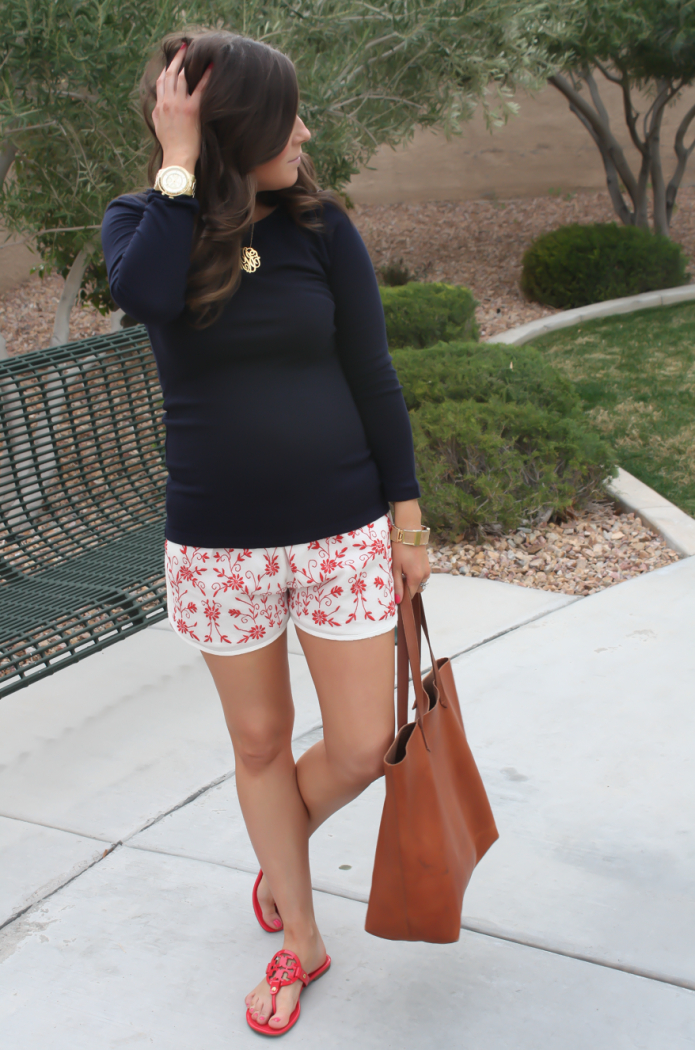 Ivory and Red Embroidered Shorts, Navy Three Quarter Sleeve Tee, Patent Red Sandals, Cognac Tote, Revolve Clothing, Tolani, J.Crew, Tory Burch, Madewell 11