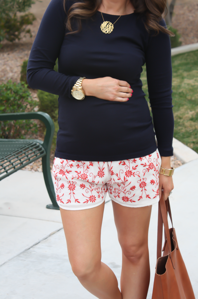 Ivory and Red Embroidered Shorts, Navy Three Quarter Sleeve Tee, Patent Red Sandals, Cognac Tote, Revolve Clothing, Tolani, J.Crew, Tory Burch, Madewell 12