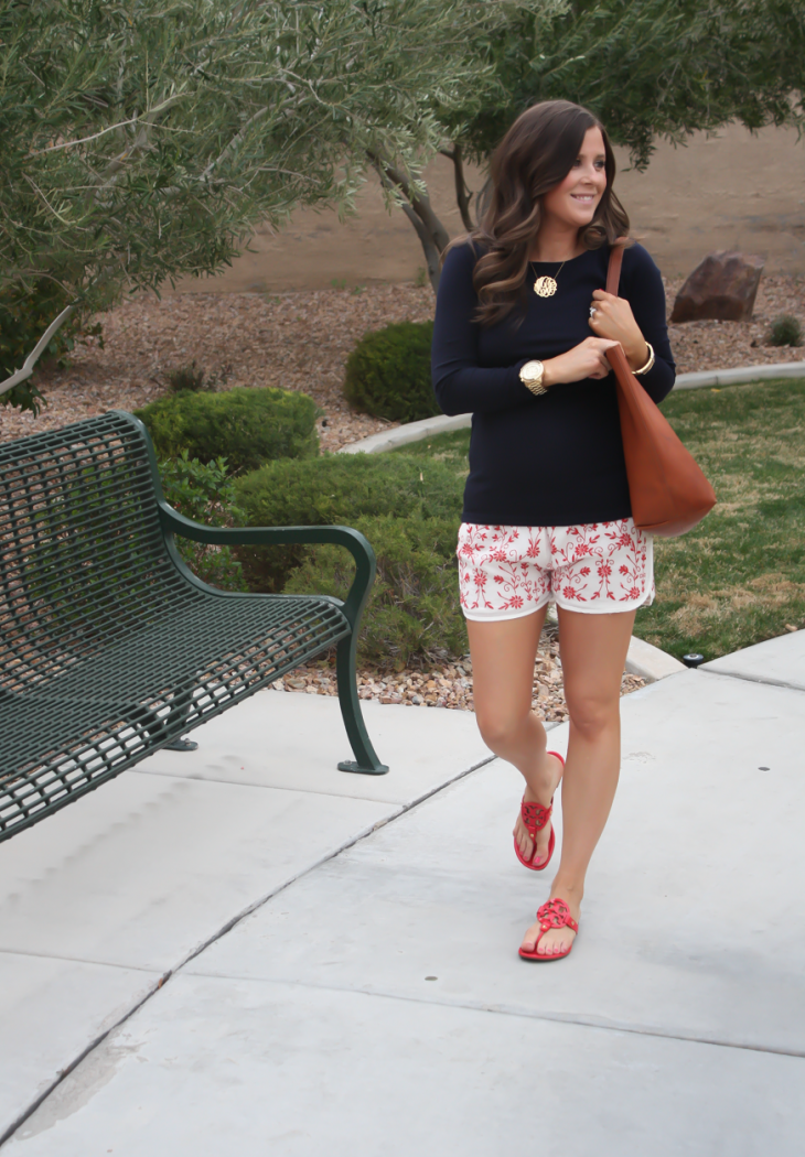 Ivory and Red Embroidered Shorts, Navy Three Quarter Sleeve Tee, Patent Red Sandals, Cognac Tote, Revolve Clothing, Tolani, J.Crew, Tory Burch, Madewell 18