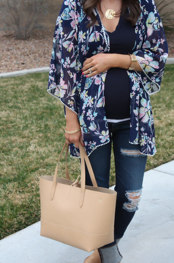 Navy Floral Kimono, Navy Tee, Distressed Skinny Jeans, Tan Mules, Tan Tote, Forever 21, J.Crew, AG Jeans, Dolce Vita 11