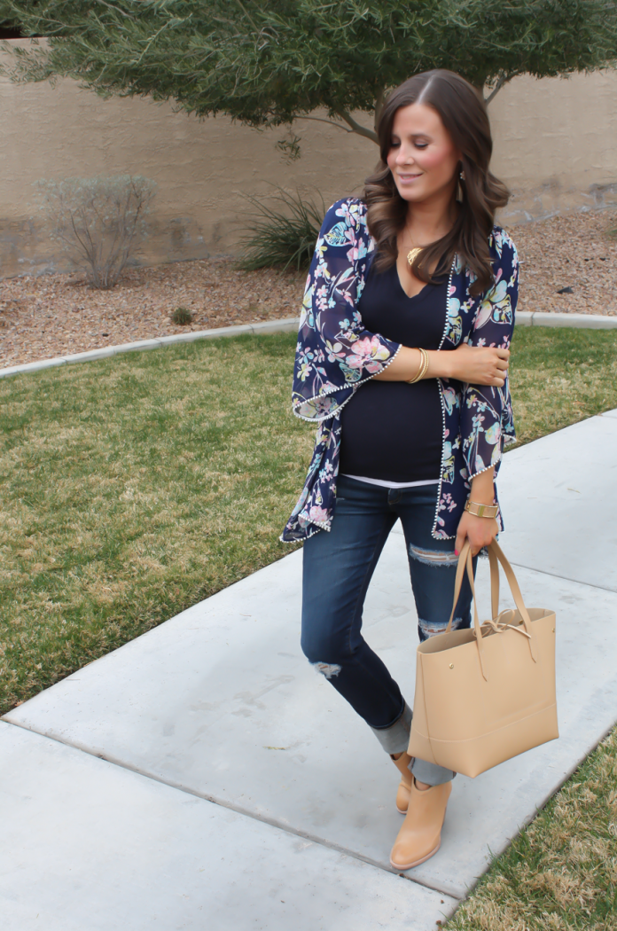 Navy Floral Kimono, Navy Tee, Distressed Skinny Jeans, Tan Mules, Tan Tote, Forever 21, J.Crew, AG Jeans, Dolce Vita 3