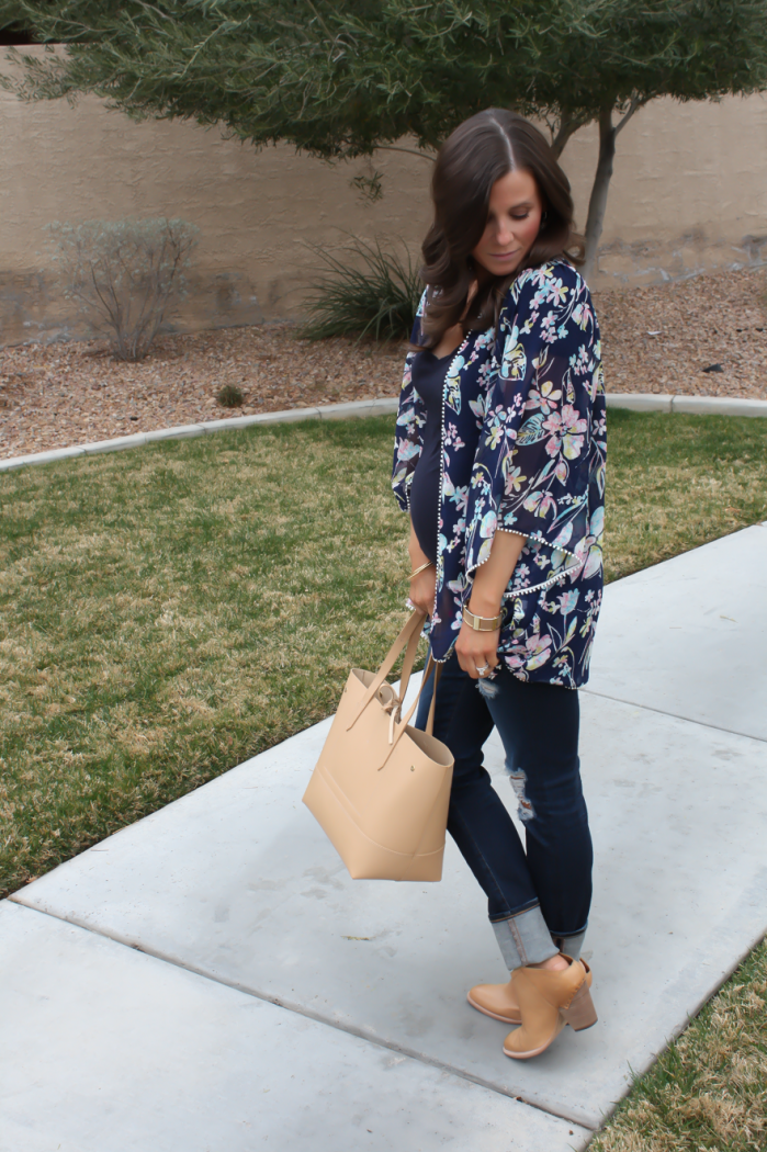 Navy Floral Kimono, Navy Tee, Distressed Skinny Jeans, Tan Mules, Tan Tote, Forever 21, J.Crew, AG Jeans, Dolce Vita 6