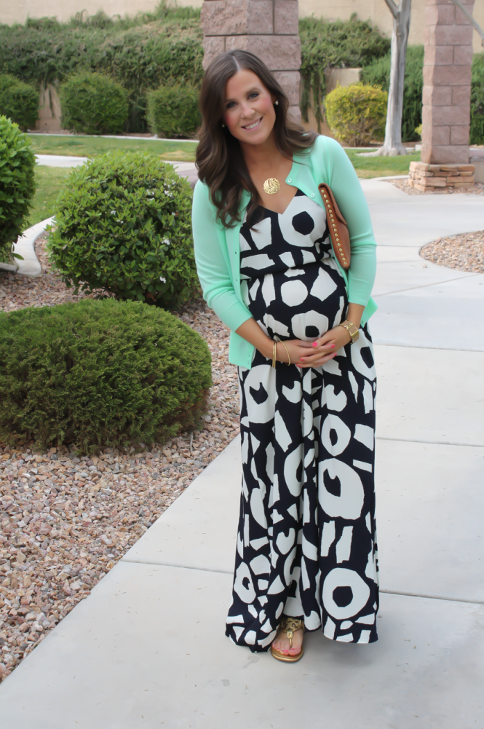 Navy Printed Maxi Dress