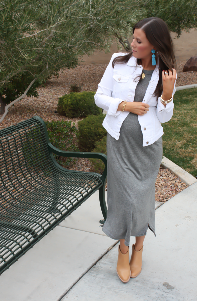 Toggery Grey Muscle Tee Dress, White Denim Jacket, Tan Mules, Toggery Brand, Gap, Dolce Vita  3