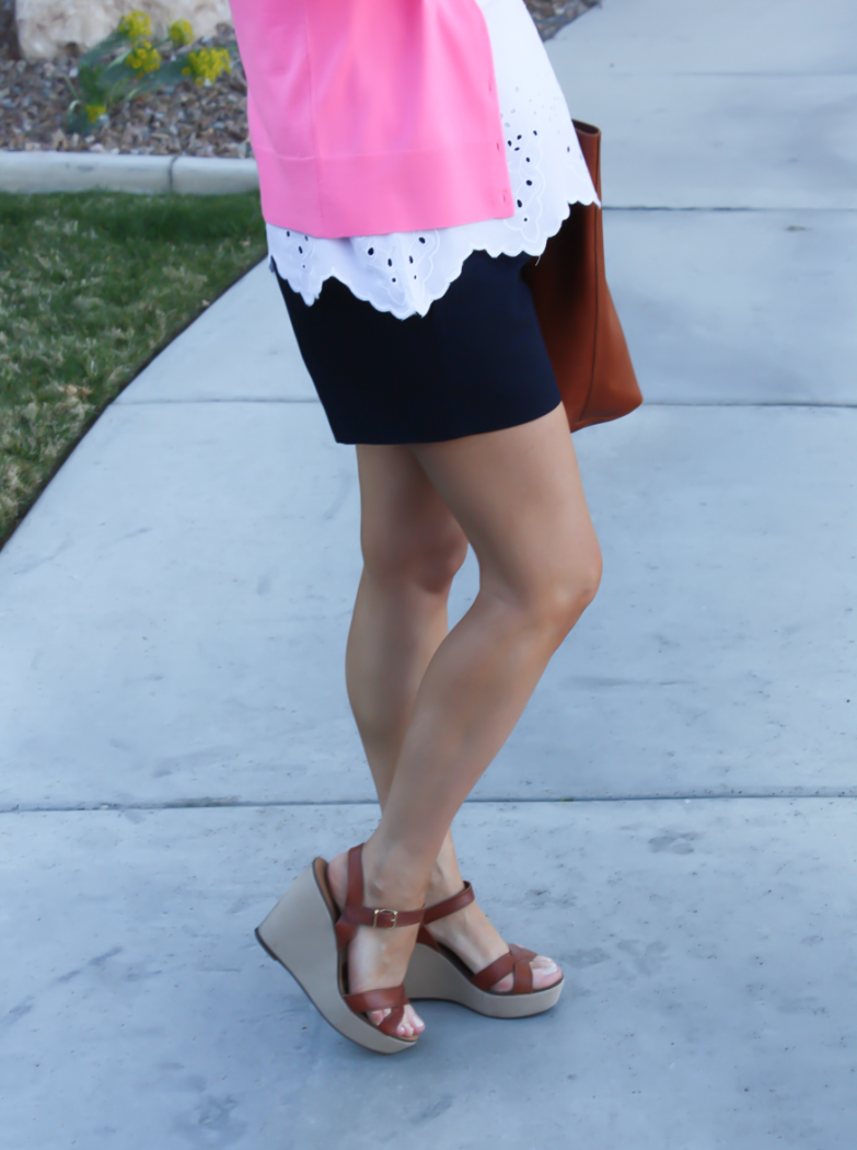 White Embroidered Blouse, Pink Cardigan, Navy Shorts, Vachetta Wedge Sandals, Cognac Tote, Old Navy, J.Crew, J.Crew Factory, Madewell 3