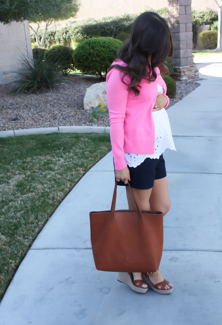 White Embroidered Blouse, Pink Cardigan, Navy Shorts, Vachetta Wedge Sandals, Cognac Tote, Old Navy, J.Crew, J.Crew Factory, Madewell 4