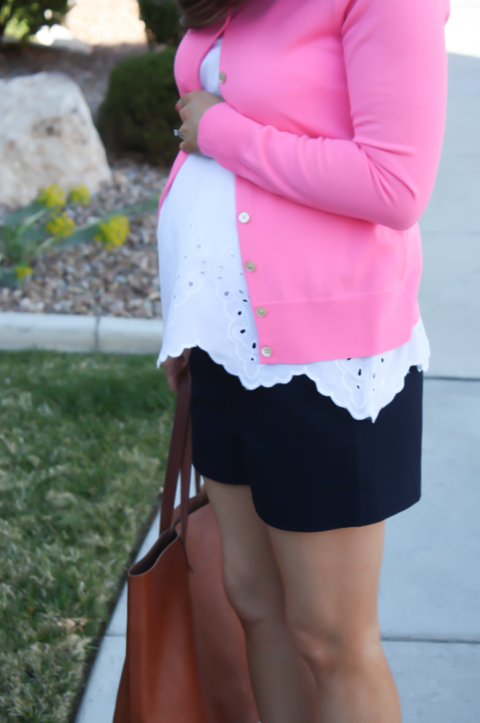 White Embroidered Blouse, Pink Cardigan, Navy Shorts, Vachetta Wedge Sandals, Cognac Tote, Old Navy, J.Crew, J.Crew Factory, Madewell 6