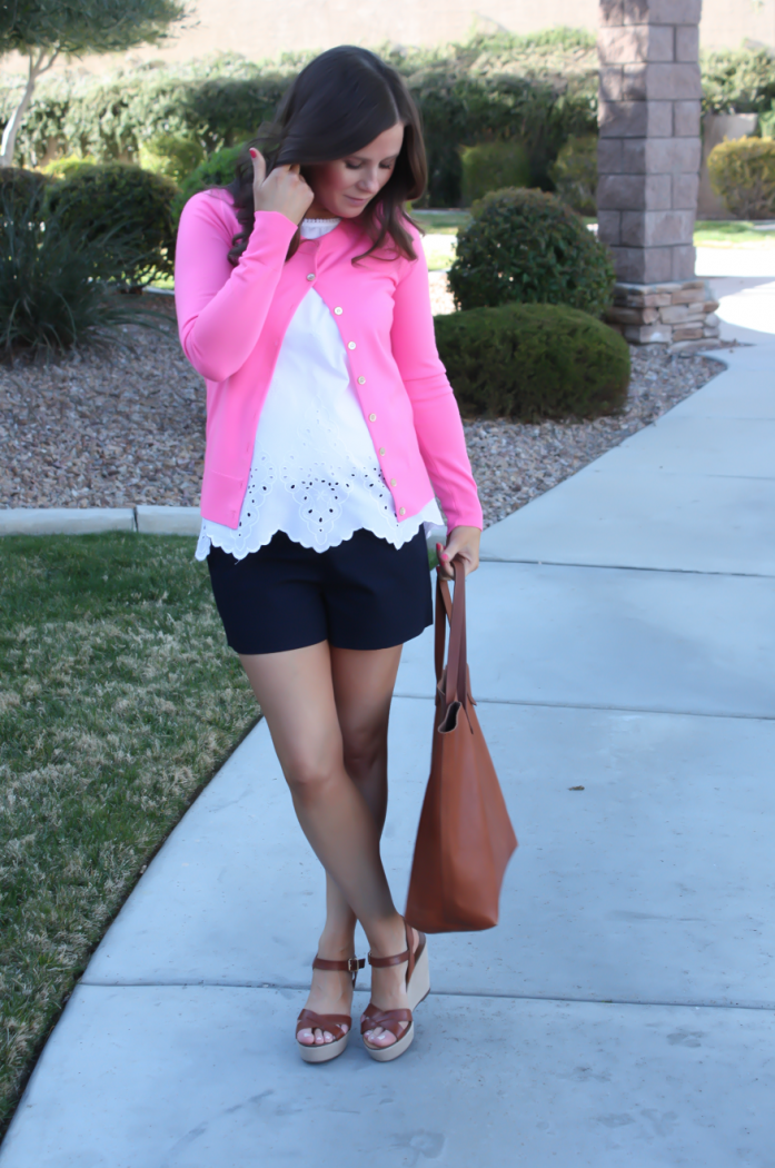 White Embroidered Blouse, Pink Cardigan, Navy Shorts, Vachetta Wedge Sandals, Cognac Tote, Old Navy, J.Crew, J.Crew Factory, Madewell