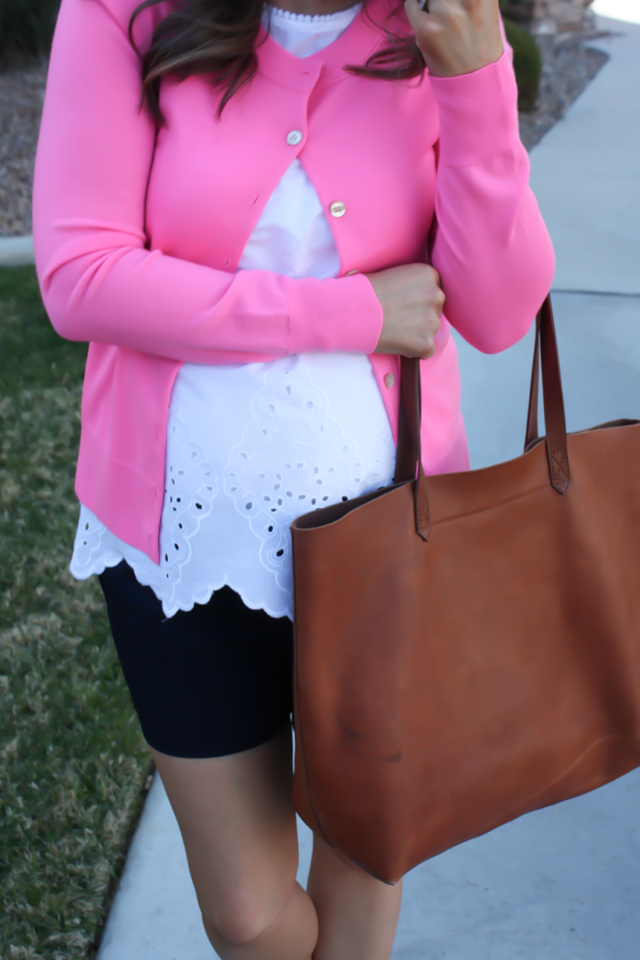 White Embroidered Blouse, Pink Cardigan, Navy Shorts, Vachetta Wedge Sandals, Cognac Tote, Old Navy, J.Crew, J.Crew Factory, Madewell 8