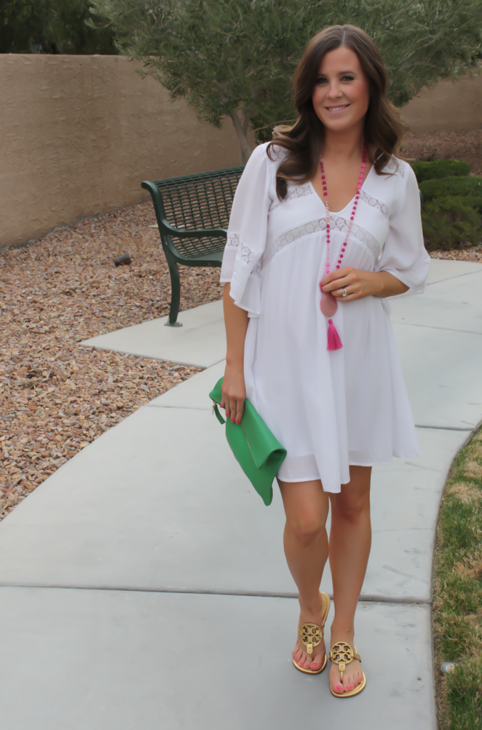 White Embroidered Dress, Gold Sandals, Emerald Green Foldover Clutch, Pink Tassel Necklace, Revolve Clothing, Tory Burch, Clare V, Nordstrom  12