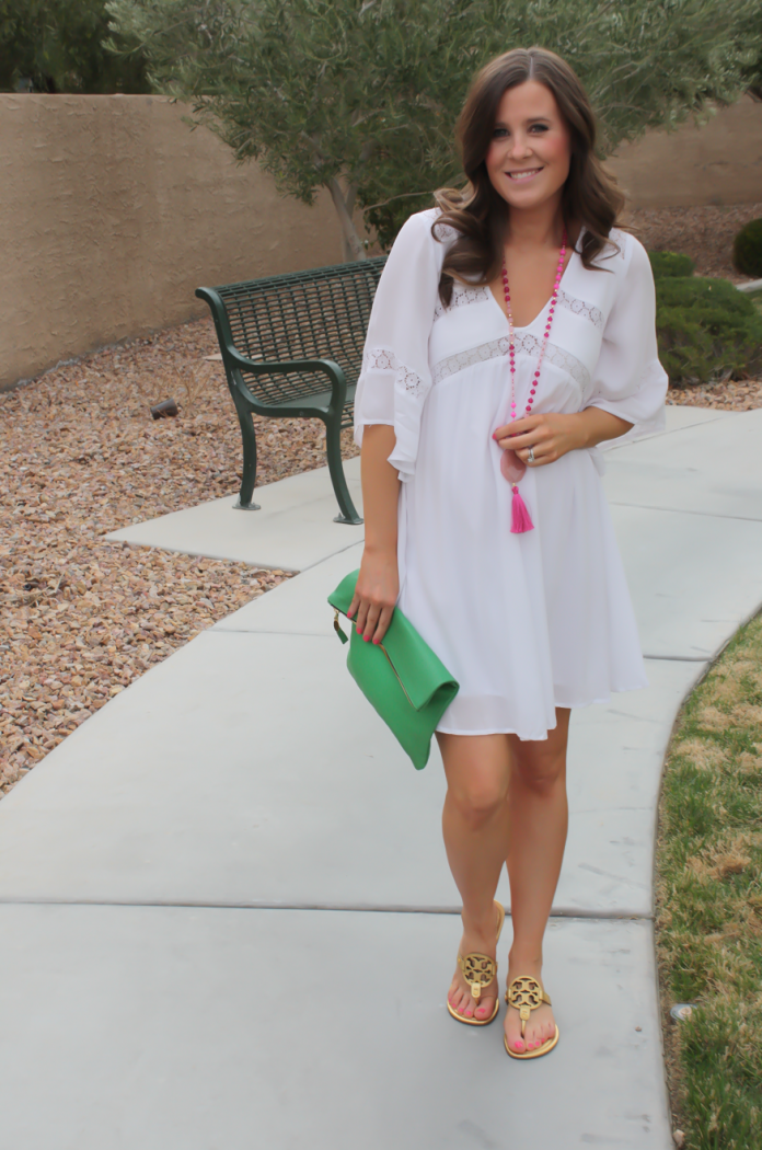 White Embroidered Dress, Gold Sandals, Emerald Green Foldover Clutch, Pink Tassel Necklace, Revolve Clothing, Tory Burch, Clare V, Nordstrom  13