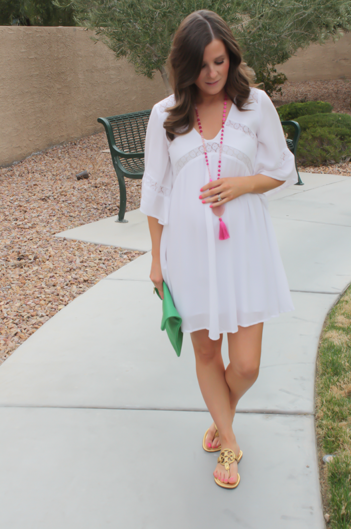 White Embroidered Dress, Gold Sandals, Emerald Green Foldover Clutch, Pink Tassel Necklace, Revolve Clothing, Tory Burch, Clare V, Nordstrom  14