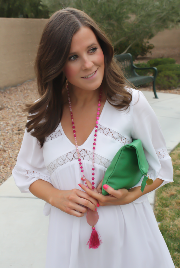 White Embroidered Dress, Gold Sandals, Emerald Green Foldover Clutch, Pink Tassel Necklace, Revolve Clothing, Tory Burch, Clare V, Nordstrom  19
