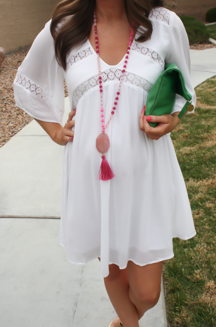 White Embroidered Dress, Gold Sandals, Emerald Green Foldover Clutch, Pink Tassel Necklace, Revolve Clothing, Tory Burch, Clare V, Nordstrom  20