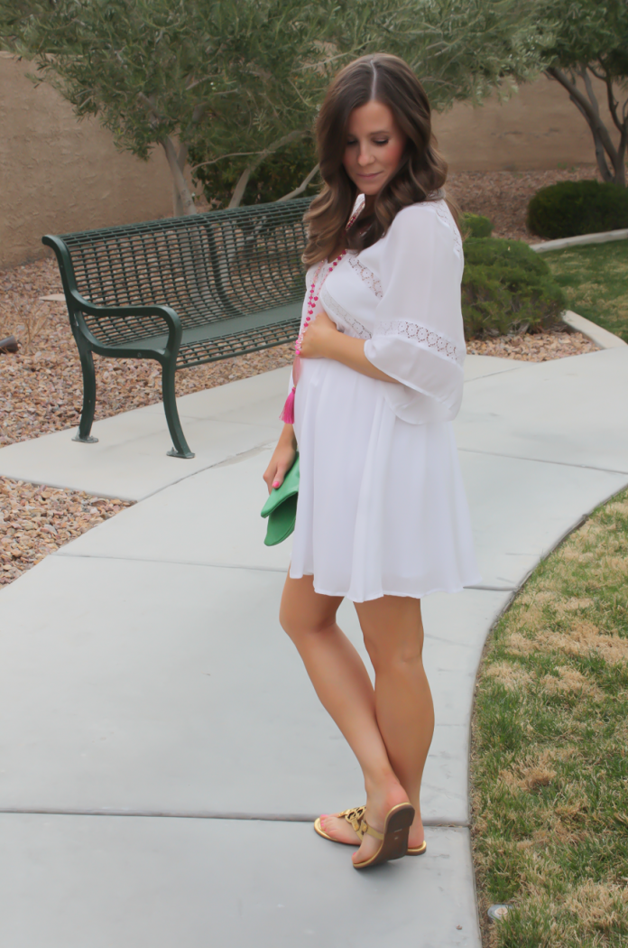 White Embroidered Dress, Gold Sandals, Emerald Green Foldover Clutch, Pink Tassel Necklace, Revolve Clothing, Tory Burch, Clare V, Nordstrom  4