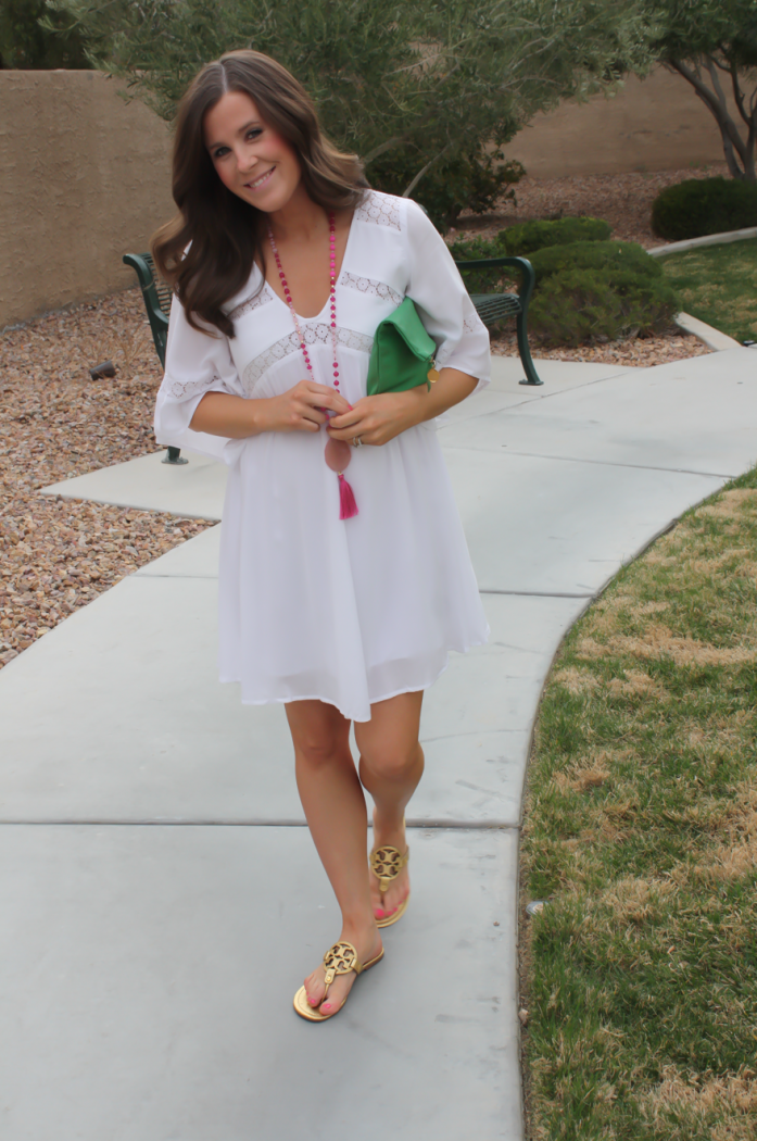 White Embroidered Dress, Gold Sandals, Emerald Green Foldover Clutch, Pink Tassel Necklace, Revolve Clothing, Tory Burch, Clare V, Nordstrom  6