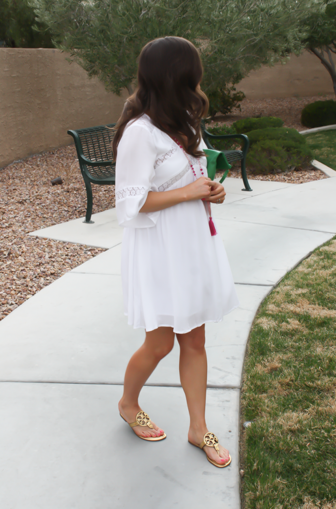 White Embroidered Dress, Gold Sandals, Emerald Green Foldover Clutch, Pink Tassel Necklace, Revolve Clothing, Tory Burch, Clare V, Nordstrom  7