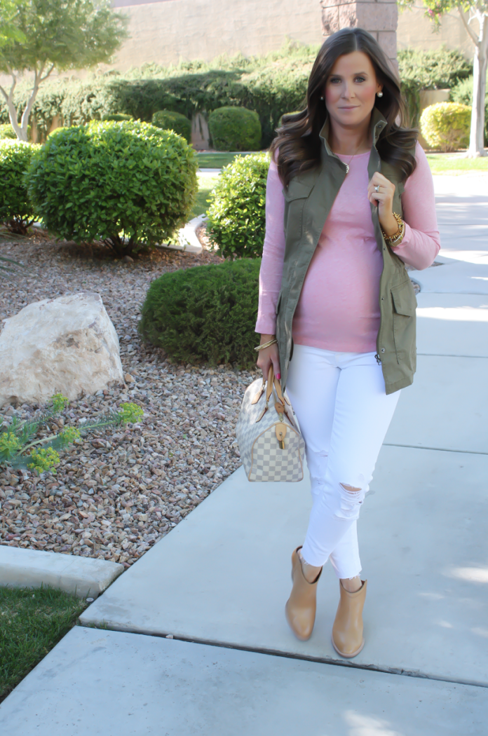 Army Green Vest, Heathered Pink Three Quarter Tee, White Distressed Skinny Jeans, Tan Mules, Monogram Tote, Banana Republic, J.Crew, J Brand, Louis Vuitton 4