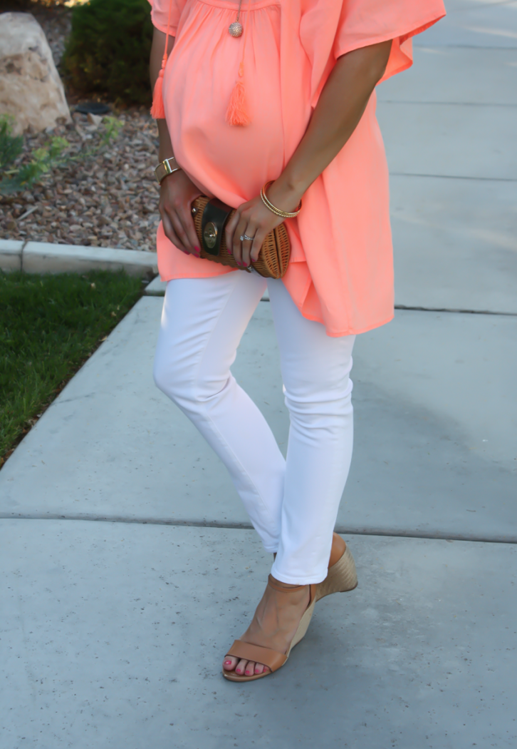 Coral Linen Tunic, White Skinny Jeans, Tan Wedge Sandals, Basket Clutch, J.Crew, J Brand, Seychelles, Kate Spade 10